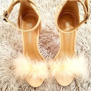 Nude 90s Inspired Fluffy Heel